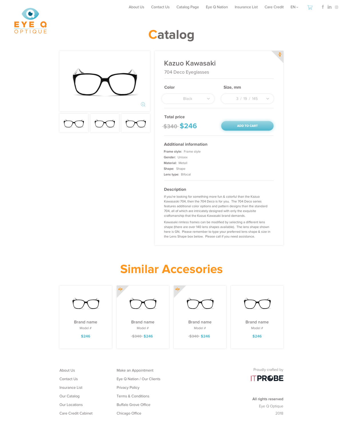 Eye Q Optique - Product Page Design