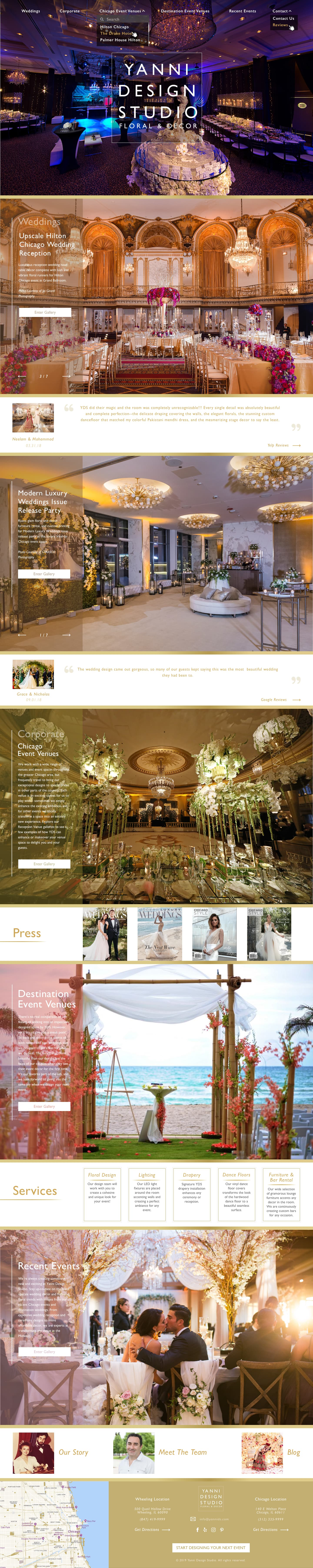 Wordpress Home Page - Created by ITPROBE for Yanni Design Studio